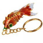 Goldfisch, Golden Fish, Cloisonne Emaille, 4456 - rot/gold 6cm
