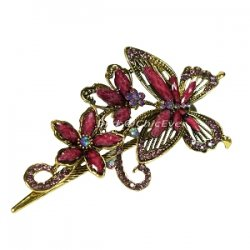 Haarspange Schmetterling & Blumen Metall Strass bordeaux gold 8426