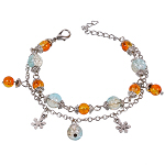 Armkette Armband Bettelkette blau orange silber 4649